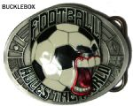 FOOTBALL (rules the world) BELT BUCKLE + display stand